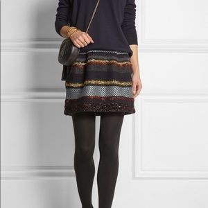 Tory Burch 'Danielle' Metallic Stripe Skirt